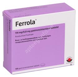 FERROLA GASTRO. TBL 114MG+0.8MG N100